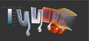 An adjoint method for conjugate heat transfer is coming in STAR-CCM+ v10.04. This image shows heat transfer on a cooled turbine blade. Image from CD-adapco. Click image for article.