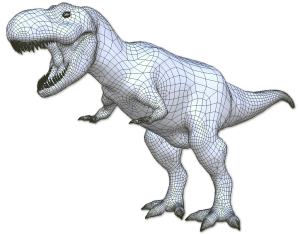 A quad mesh for a T-Rex generated by ArtMesh. Image from Topologica.org. See link above.