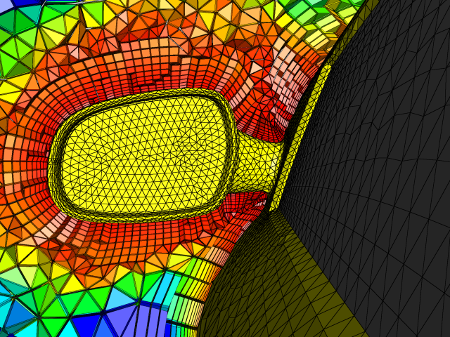 A close up of the side mirror shows in detail the anisotropic layers of combined prisms generated by our T-Rex algorithm.
