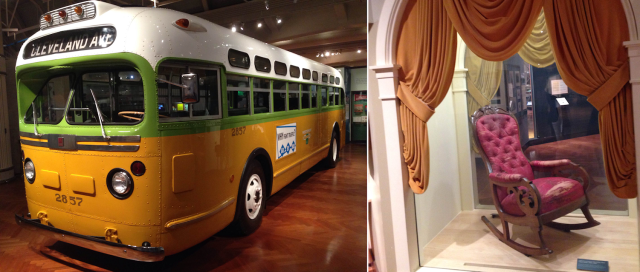 Two of the main attractions that we got to enjoy at the Henry Ford Museum: the Rosa Parks bus and Lincoln's chair from Ford's Theater.