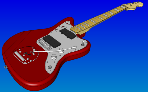 Guitar body geometry displayed in Pointwise for the 23rd International Meshing Roundtable meshing contest.