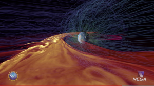 Not CFD, but a cool simulation of solar plasma nonetheless. Video by NCSA. Click image for video.
