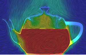Streamlines in a teapot done with a line integral convolution method. Image from Mentor Graphics. See link above.