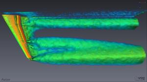 Use of ANSYS for high lift wing design. Image from ANSYS. Click image for article.  (I chose this image solely because it displays Eigen Helicity Density.)