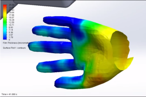 Screen capture from a video of a FloEFD simulation of hand drying. Color indicates film thickness, red to blue where blue is dry skin. See link above.