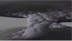 Award winning visualization of a thunderstorm simulation. Image from isgtw. Click image for article and video. (Reminds me of the cover of Tufte's Visual Explanations.)