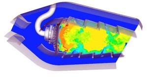 Record-setting gas turbine combustor simulation from ANSYS and Cray. Image from Aerospace Manufacturing and Design. See link below.
