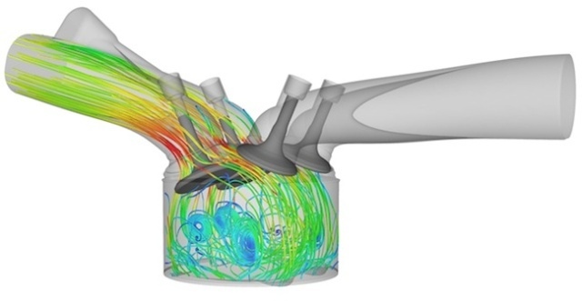 An in-cylinder CFD solution from Converge CFD done by PSA Peugeot Citroen. Image from TheEngineer.co.uk. See link above.