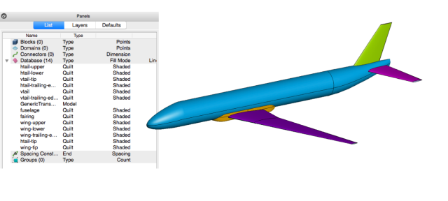 OpenVSP generic transport model used for anisotropic unstructured mesh automation using Glyph in Pointwise.
