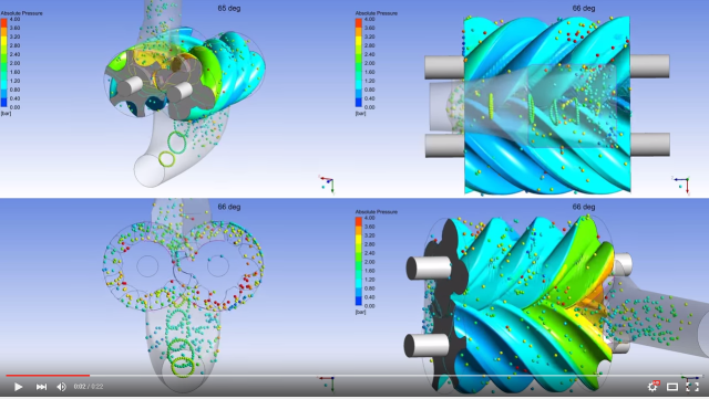 Screen capture from a video illustrating a transient simulation of a screw compressor from CFX-Berlin. Click image for video.