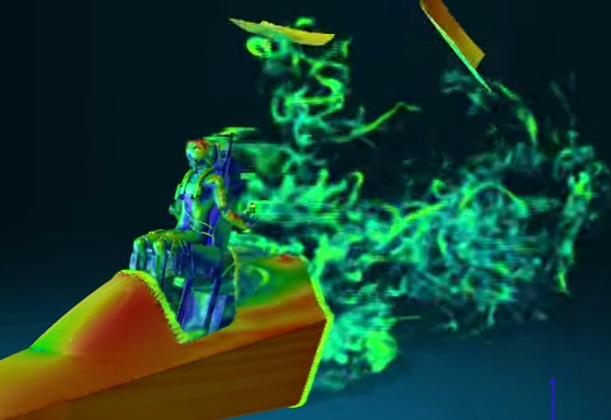 Screen capture from a video of an XFlow simulation of pilot ejection. Click image for video.
