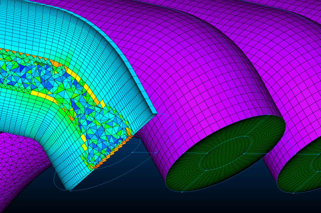 Unstructured hexes created by T-Rex interface with the O-H structured topology at the inlet to the intake manifold.