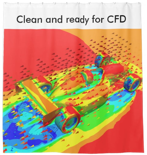 Just a CFD shower curtain, one of the many CFD-themed gift items from Symscape. Click image for article.