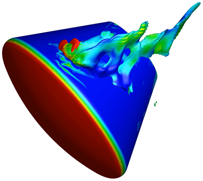 This roll jet simulation of the Orion space capsule was visualized using Tecplot. Image from Tecplot. See link below.