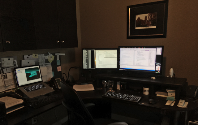 Chris's current workspace.