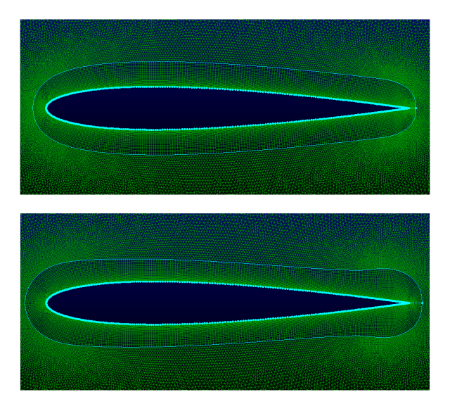 Comparison of a relatively fine laminar NACA 0012 mesh with the volume smoothing parameter at 0.01 (top) and 0.5 (bottom). Lowering the value helps keep the mesh from splaying near the trailing edge.