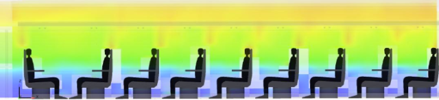 An EnSight visualization of temperature in a train car. Image from EnSight. Click image for article.