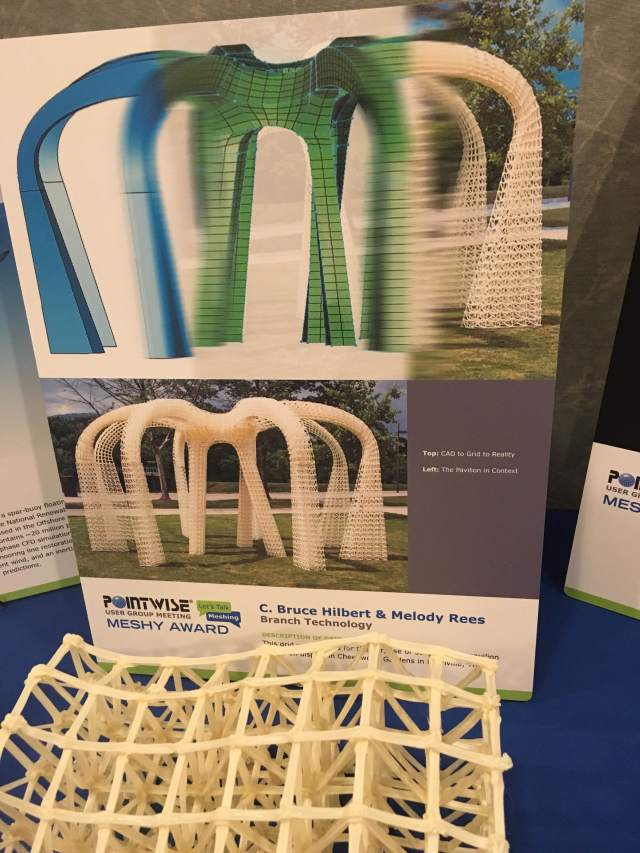 The winning mesh for The Meshy Award, announced at the Pointwise User Group Meeting 2016, was Branch Technologies 3D printed mesh.