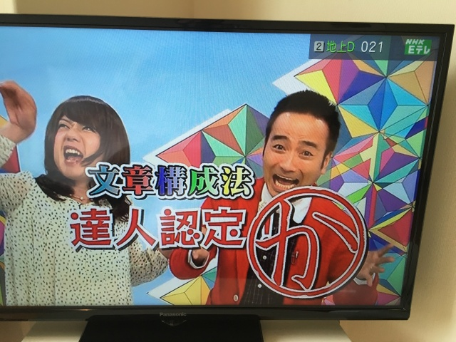 This brightly colored tessellated backdrop is from a Japanese TV show.
