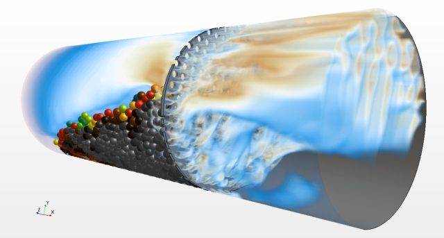 This absolutely gorgeous image of a DEM simulation is from STAR-CCM+ v11.06. Image from Siemens. See link below.