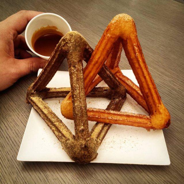 Churro + tetrahedra = churroduo. [Or may I suggest churrohedra?]. Image from That's Nerdalicious. See link above.