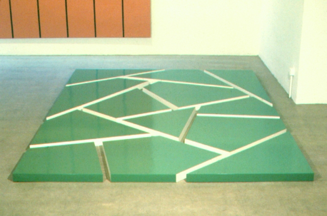 "Jeremy MoonUntitled, 1972 (No. 3D1/72) Oil on wood 2-3/4"" x 8' x 11' inches"