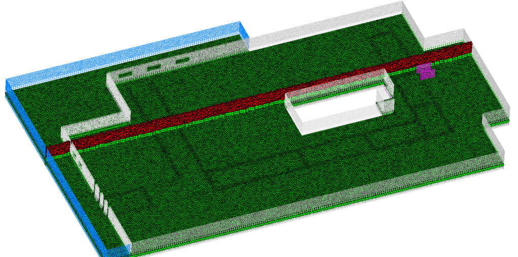 Figure 2 - examine of mesh at 2 planes, showing prism (green) and tetrahedron mesh (red), and boundaries outlet (magenta), walls (grey) and atmospheric inlet (blue)