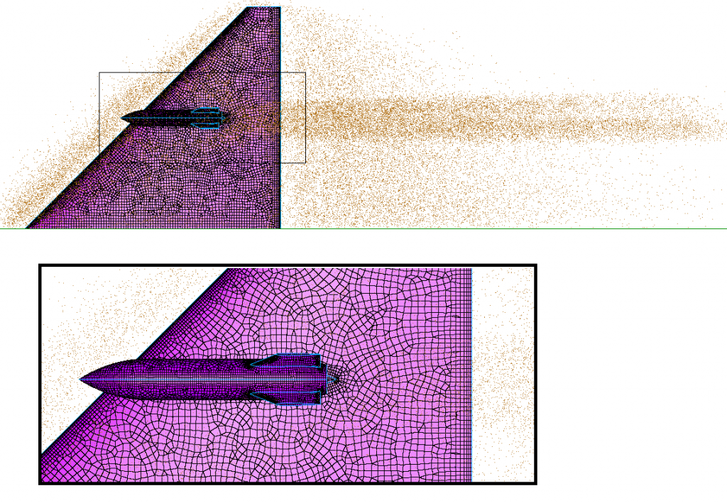 Figure 4 - wing and store example - domains and pointcloud points loaded in Pointwise used a source to influence the isotropic part of the mesh
